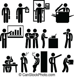 Business Businessman Employee Work - A set of pictograms ...