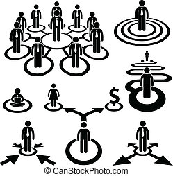 Business Businessman Workforce Team - A set of pictogram...
