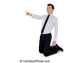 business, côté, pointage, homme