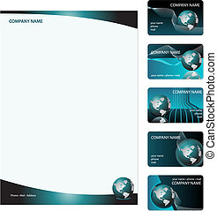 Business Cads Template - Set of five blue business cards and...