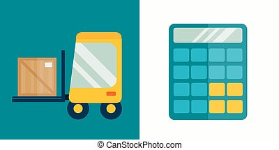 Business calculator and delivery transport technology vector...