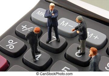 business, calculatrice, isolé, jouet, homme