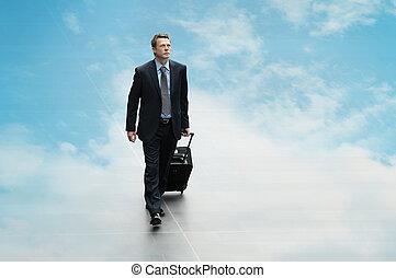 business, calculer, voyage, ciel, fond, homme, couvrir, duper