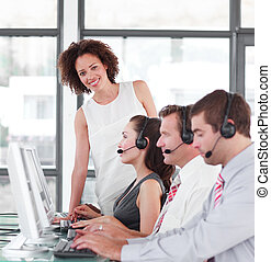 Business Call Centre with team working
