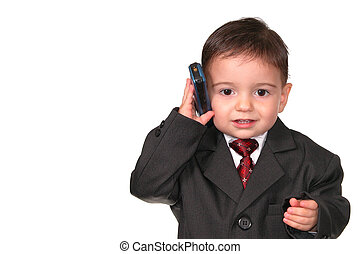 Business Call - Little Man taking a business call on the...