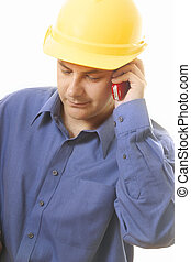 Business calls - A man receives a call from a customer or...