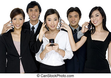 Business Calls - A group of young business people swapping...