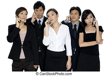 Business Calls - Five young asian businessmen and women all...