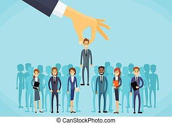 business, candidat, personne, main, recrutement, cueillette
