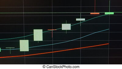 Business candle graph chart of stock market on the screen....