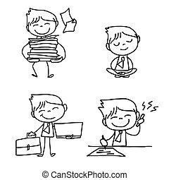 business, caractère, dessin, personne, main, dessin animé