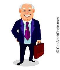 business, caractère, graisse, gai, dessin animé, homme