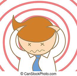 business, caractère, homme, confondre, dessin animé, mal tête