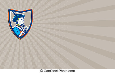 Business card American Patriot Musket Side Shield Retro -...