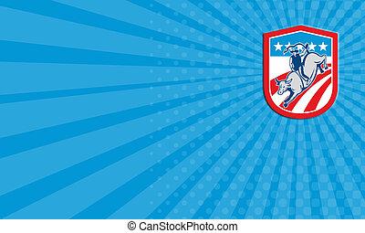 Business card American Rodeo Cowboy Bull Riding Shield Retro