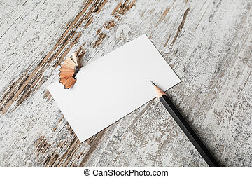 Business card and pencil