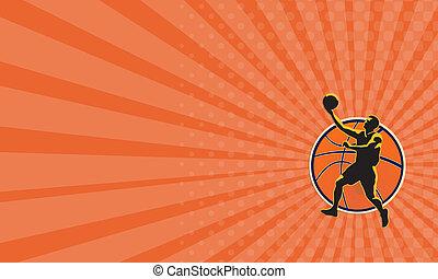 Business card Basketball Player Lay Up Ball