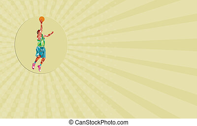 Business card Basketball Player Lay Up Rebounding Ball Low Polygon