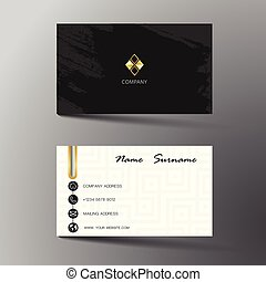 Black And White Business Card Template Design With Inspiration From The Abstract Contact For Company Two Sided On Gray Background