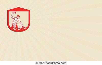 Business card Blacksmith Worker Striking Sledgehammer Anvil Retro