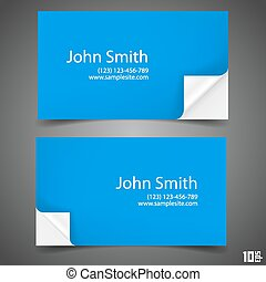 Business card blue. Vector