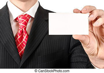Business card - Business man holding a business card,...