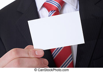 business card - Businessman showing his visitig card