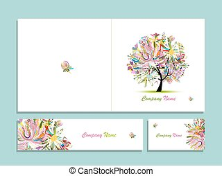 Business card collection, abstract floral tree design....