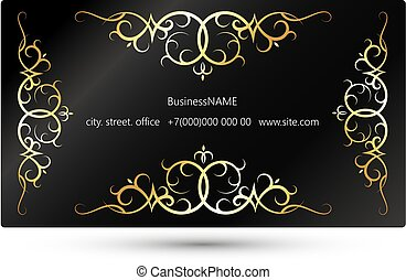 Business card concept with gold ornament - Concept of unique...