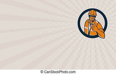Business card Construction Worker Thumbs Up Circle Retro