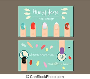Business card design template. Business card, flyer for manicure salon, nail design studio, nail artist