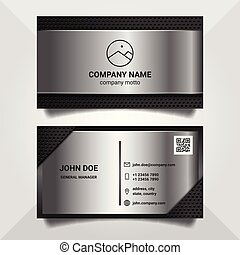 business card design template with metalic style