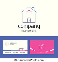 Business card design with home company logo vector