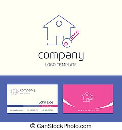 Business card design with house company logo vector