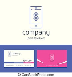 Business card design with smart phone company logo vector