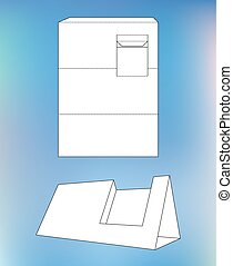 Paper bag packaging die cut and 3d bag mockup clip art vector box with blueprint layout business card holder and die malvernweather Gallery