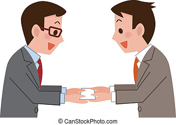Business card exchange - Businessmen exchanging business...