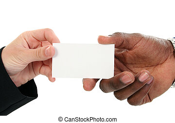 Business Card Exchange - Caucasian female and African ...
