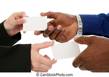 Business Card Exchange - Caucasian female and African...