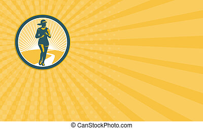 Business card Female Marathon Runner Circle Retro