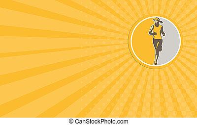 Business card Female Triathlete Marathon Runner Circle Retro