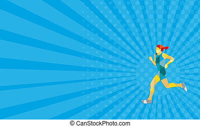 Business card Female Triathlete Marathon Runner Low Polygon