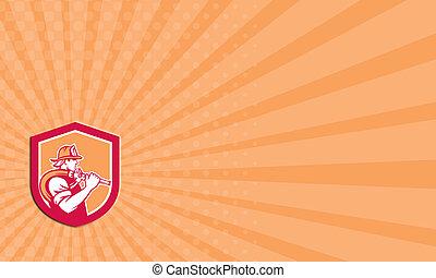 Business card Fireman Firefighter Holding Fire Hose Shoulder Shield