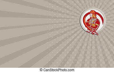 Business card Fireman Firefighter Standing Folding Arms Circle