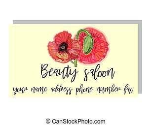Business card for a beauty salon with watercolor poppies, stylish business design