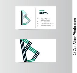 business card for letter B