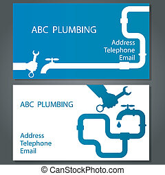Business card to repair plumbing, vector