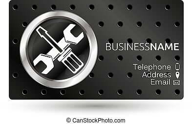 Business card for repair, screwdriver and wrench