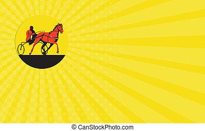 Business card Horse and Jockey Harness Racing Circle Retro -...
