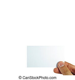Business card in female hand. Studio isolated